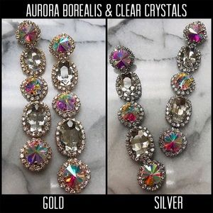 Jewelry - Aurora Borealis & Clear Crystal Long Earrings,NWT